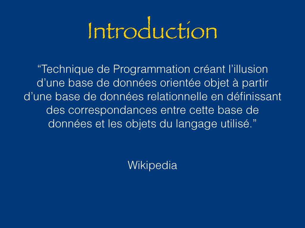 """Introduction """"Technique de Programmation créant..."""