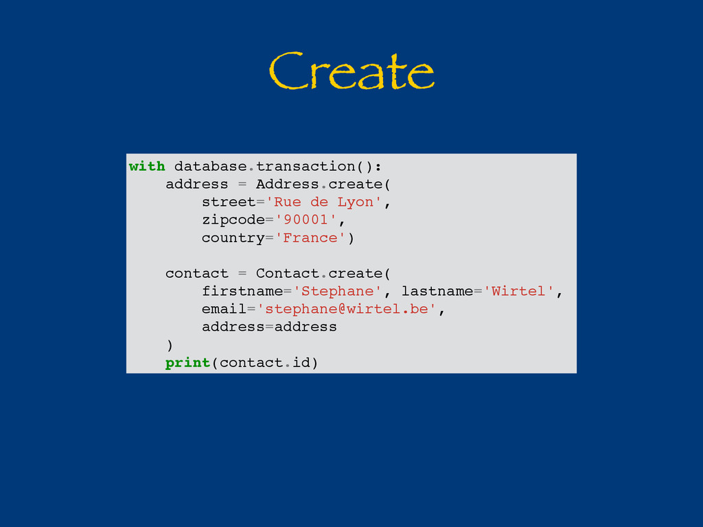 Create with database.transaction(): address = A...