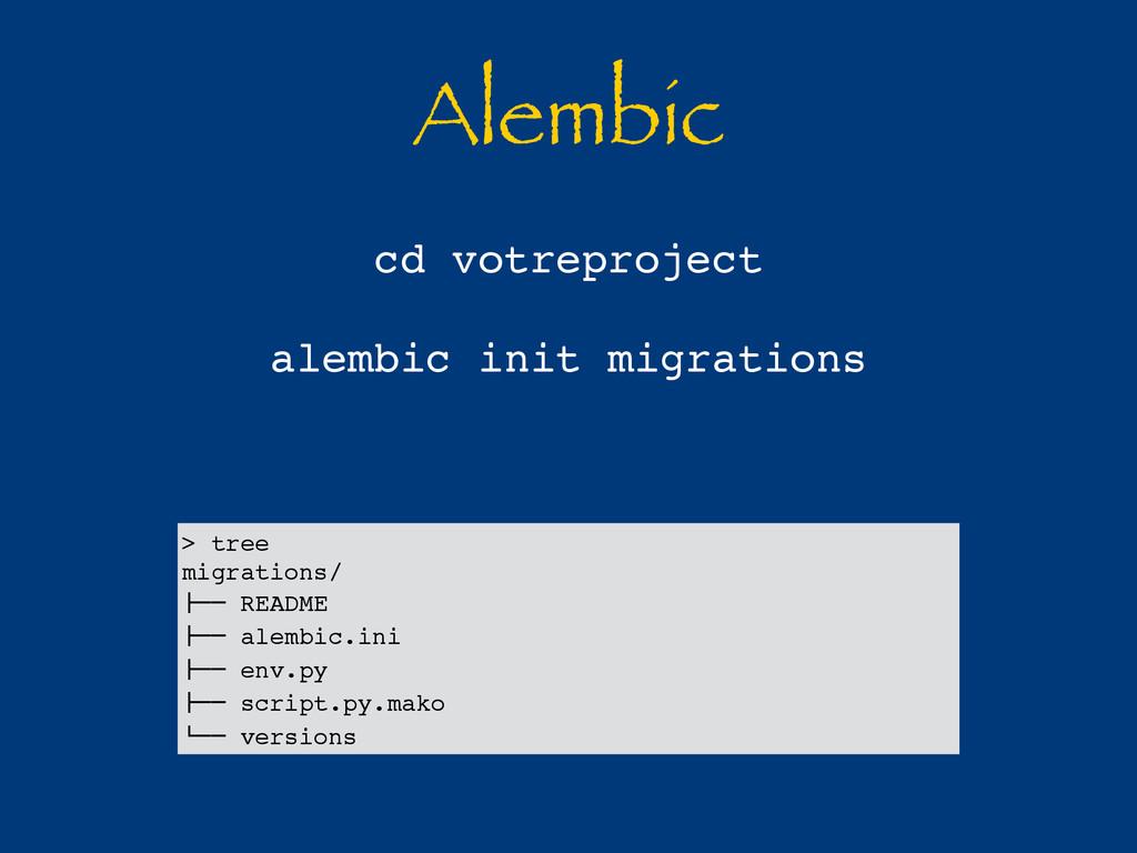 Alembic cd votreproject alembic init migrations...