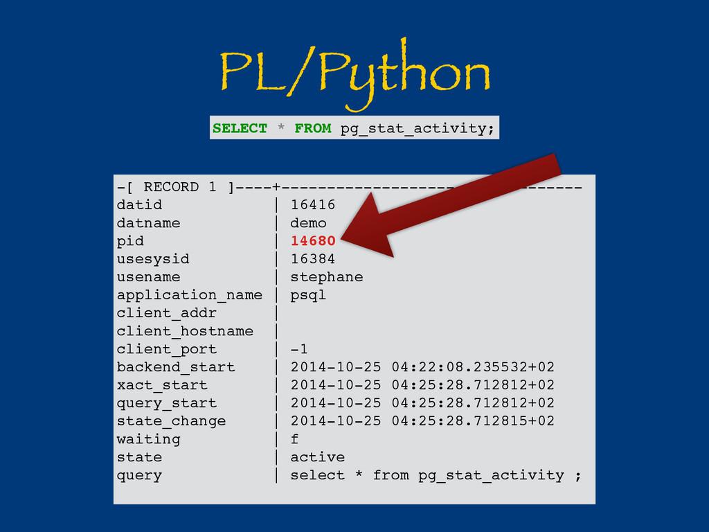 PL/Python -[ RECORD 1 ]----+-------------------...