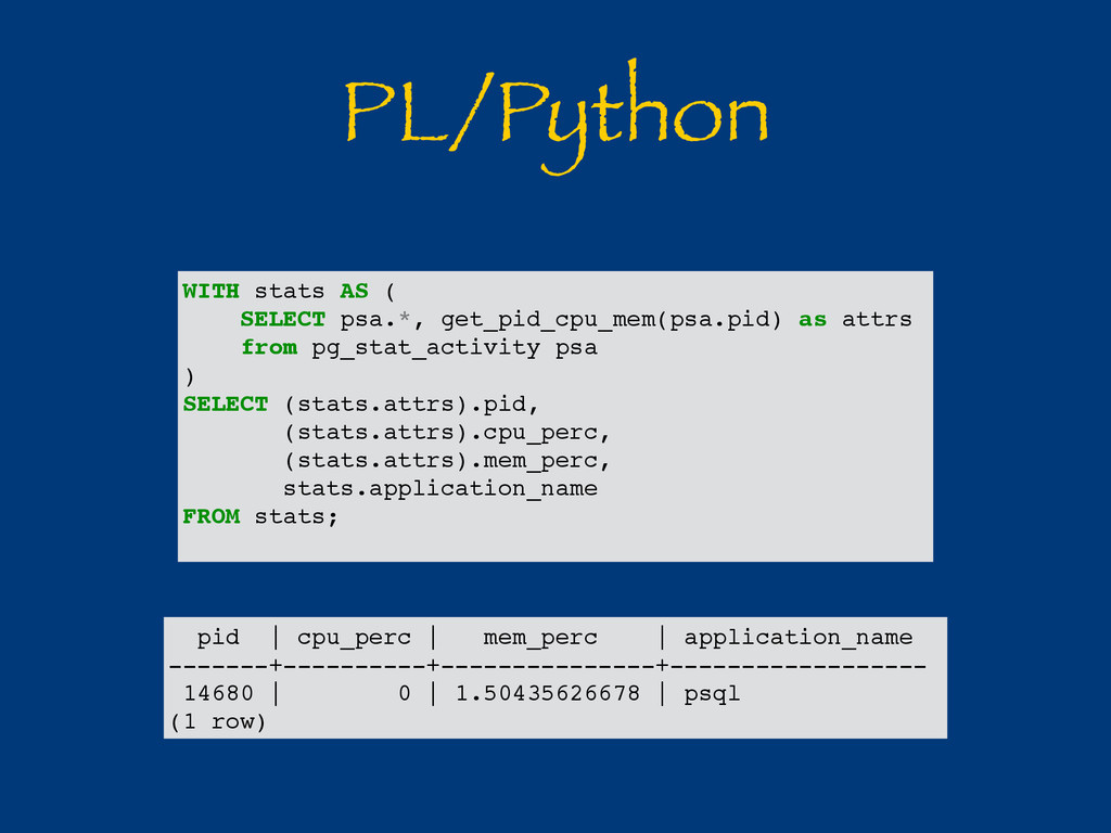 PL/Python pid | cpu_perc | mem_perc | applicati...
