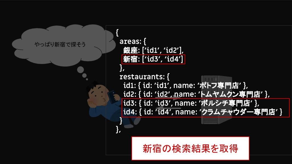 やっぱり新宿で探そう { areas: { 銀座: ['id1', 'id2'], 新宿: [...