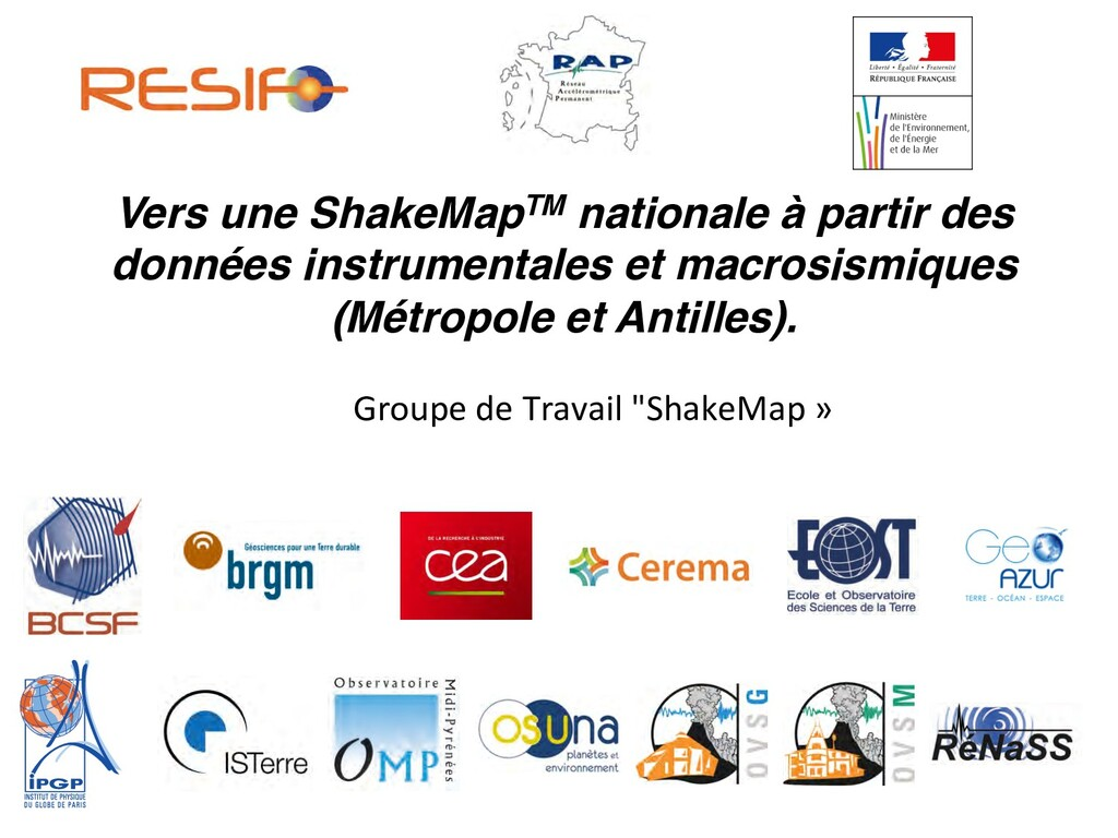 Vers une ShakeMapTM nationale à partir des donn...
