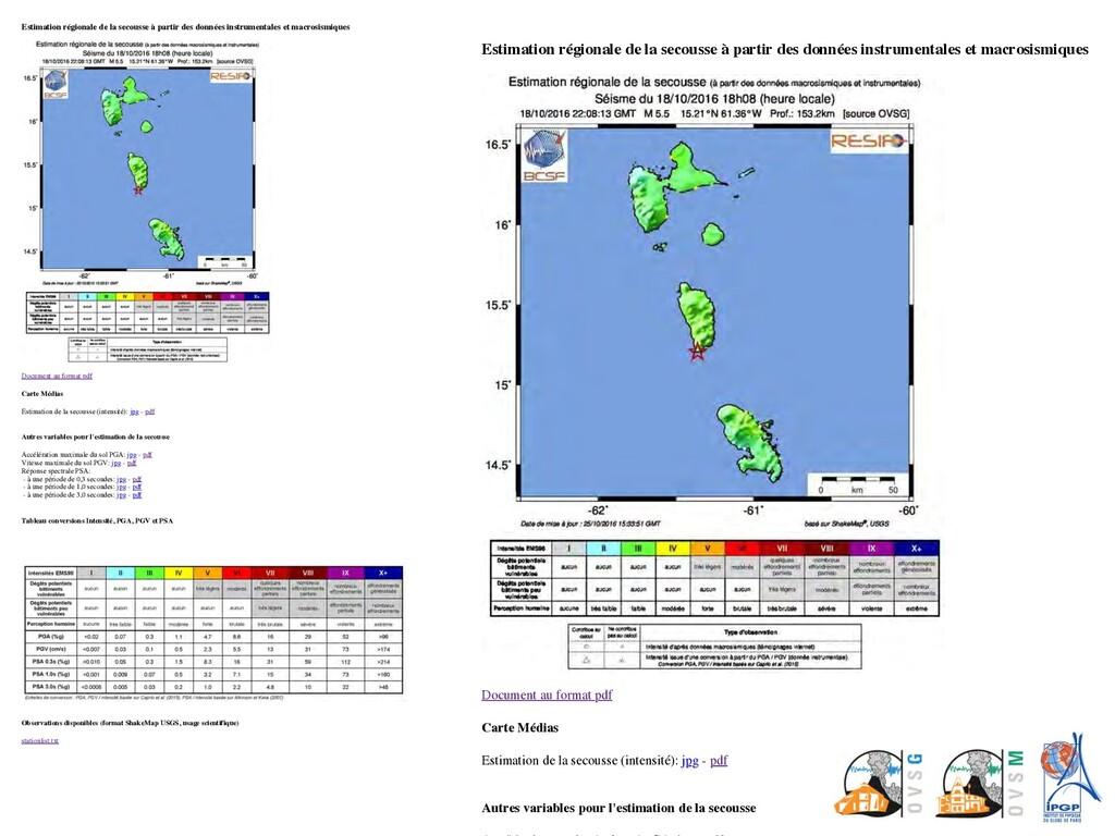 Estimation régionale de la secousse à partir de...