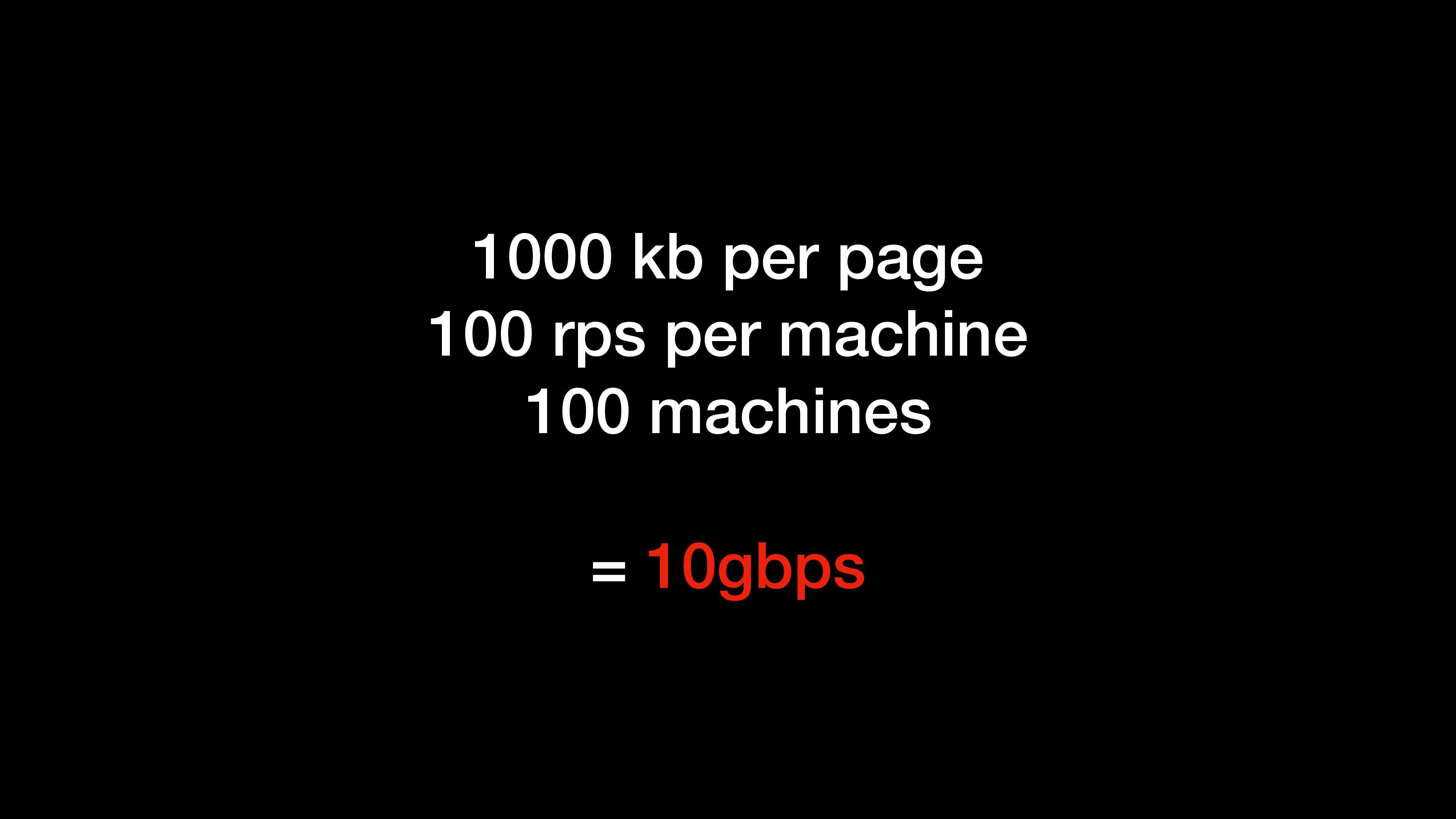 1000 kb per page 100 rps per machine 100 machin...