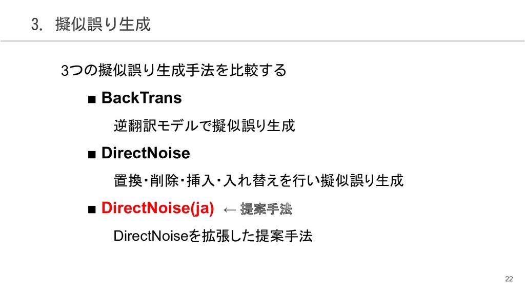 3. 擬似誤り生成 22 3つの擬似誤り生成手法を比較する ■ BackTrans 逆翻訳モデ...