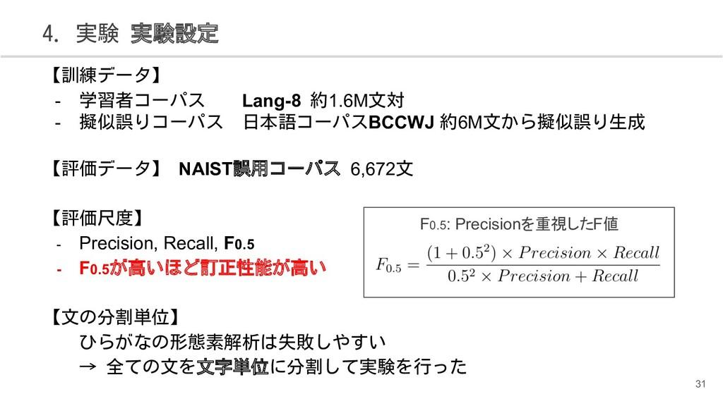 【訓練データ】 - 学習者コーパス  Lang-8 約1.6M文対 - 擬似誤りコーパス 日本...