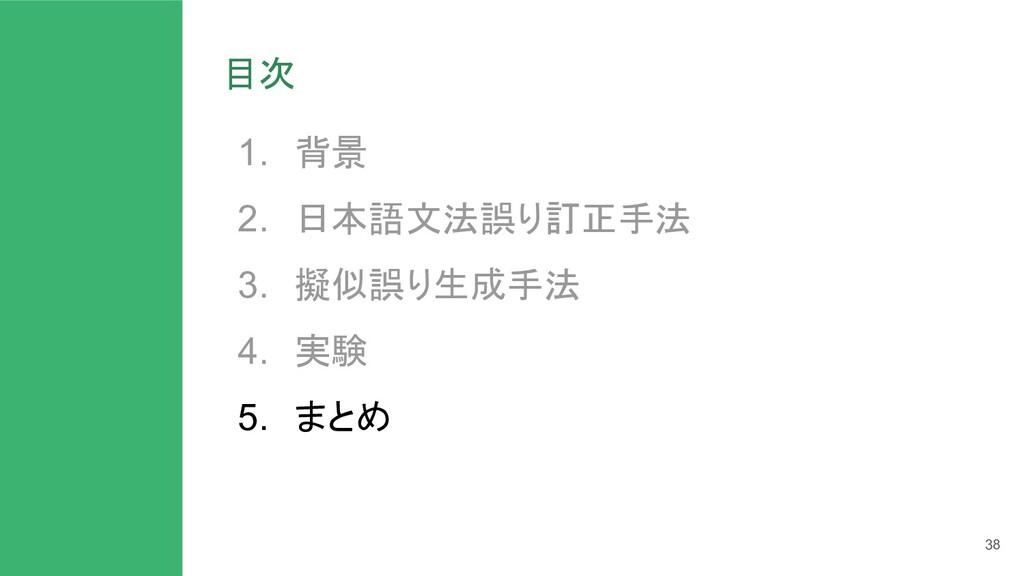 目次 1. 背景 2. 日本語文法誤り訂正手法 3. 擬似誤り生成手法 4. 実験 5. まと...