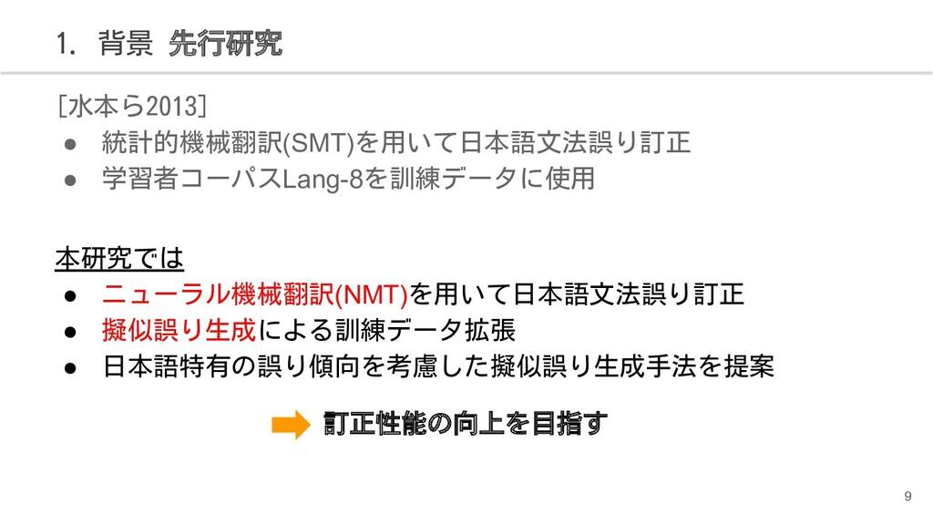 [水本ら2013] ● 統計的機械翻訳(SMT)を用いて日本語文法誤り訂正 ● 学習者コーパス...