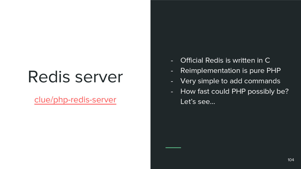 Redis server 104 clue/php-redis-server - Offici...