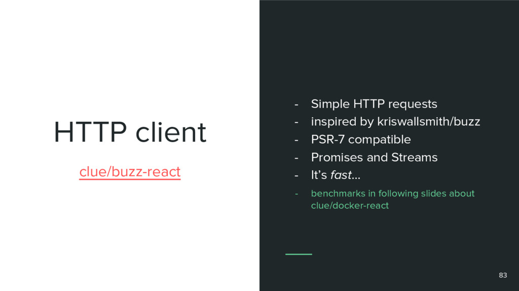 HTTP client 83 clue/buzz-react - Simple HTTP re...