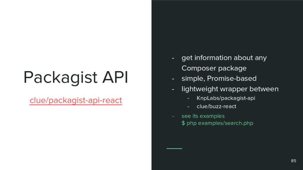 Packagist API clue/packagist-api-react - get in...