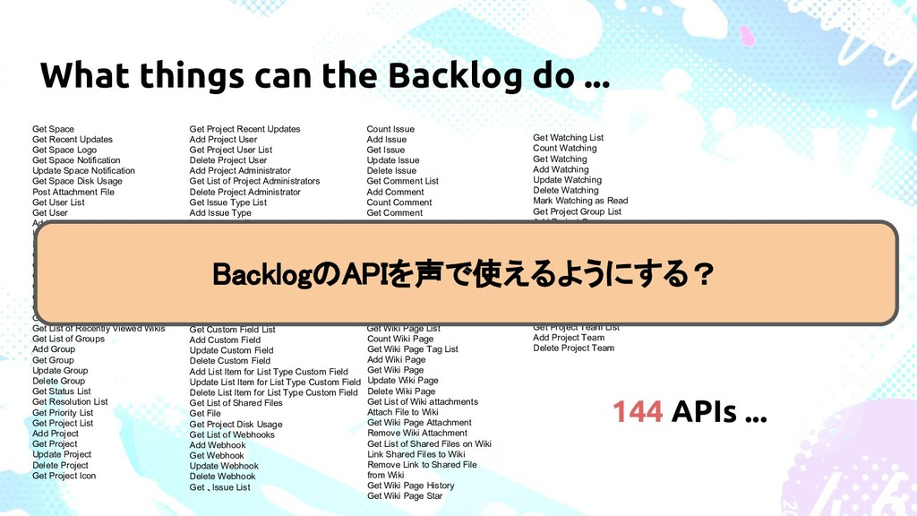 What things can the Backlog do ... Get Space Ge...