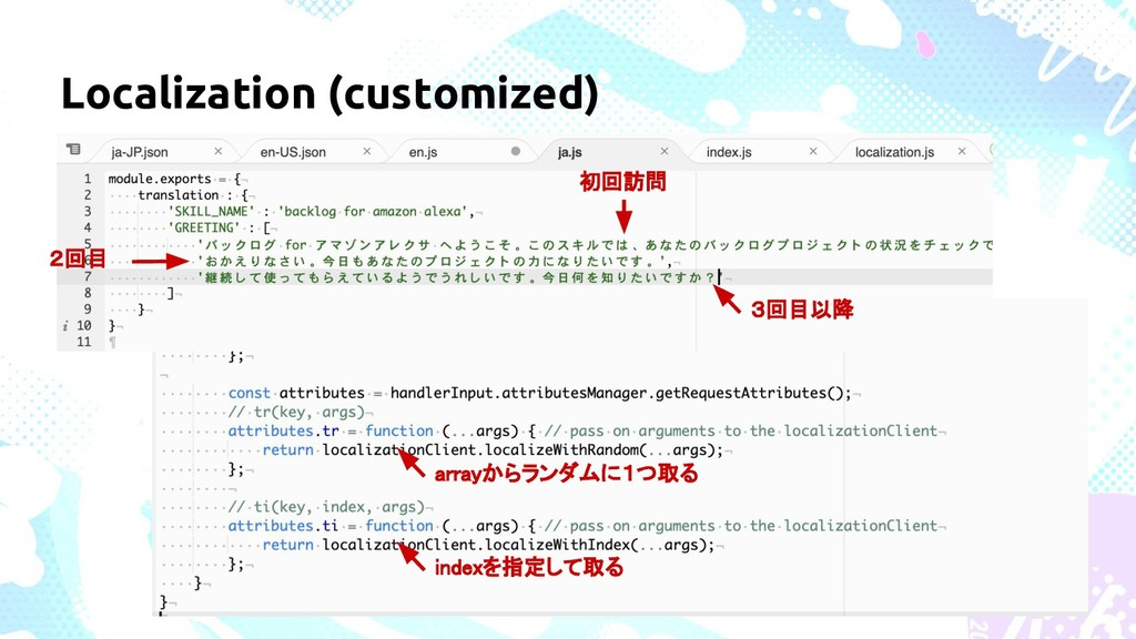 Localization (customized) 初回訪問 2回目 3回目以降 indexを...