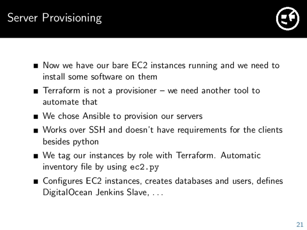 Server Provisioning Now we have our bare EC2 in...