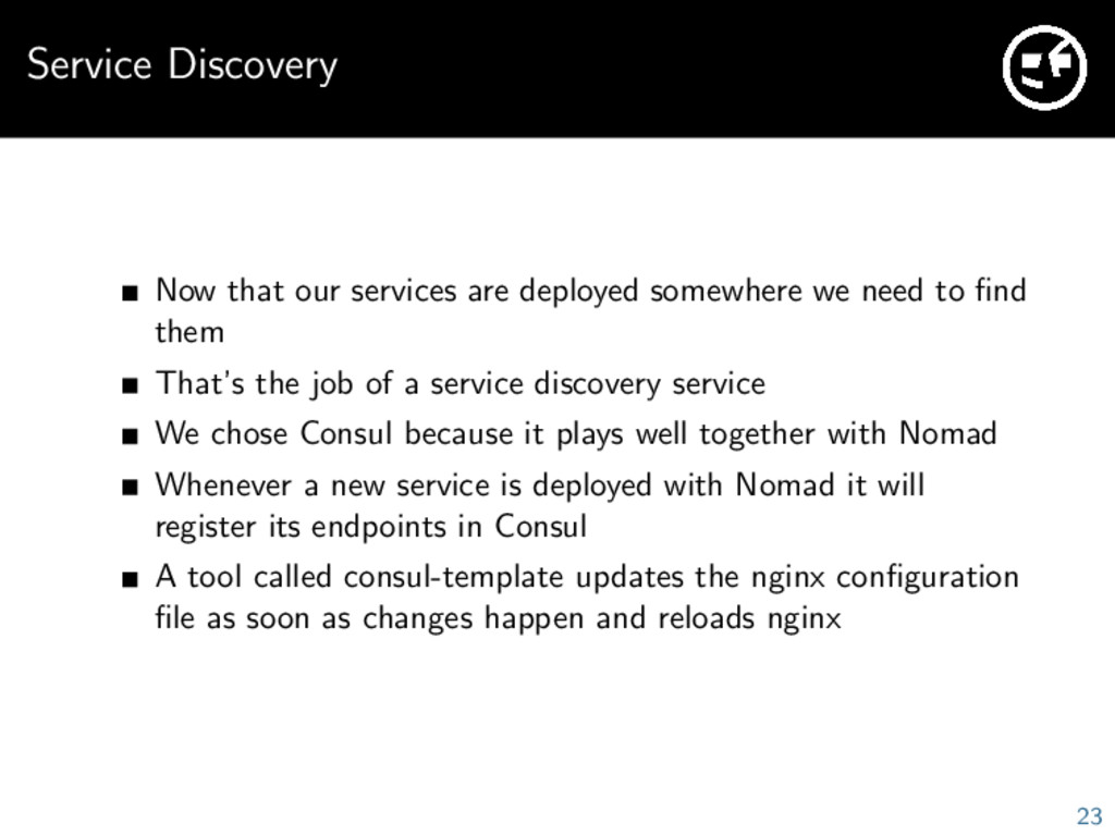 Service Discovery Now that our services are dep...