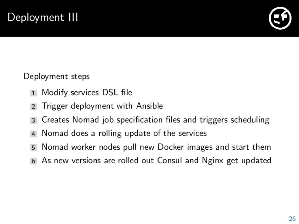Deployment III Deployment steps 1 Modify servic...