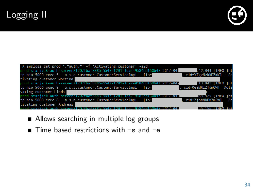Logging II Allows searching in multiple log gro...