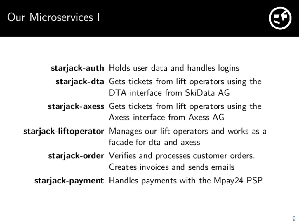 Our Microservices I starjack-auth Holds user da...