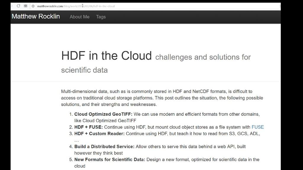 Matthew Rocklin's blog post on HDF