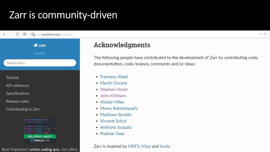 Zarr is community-driven