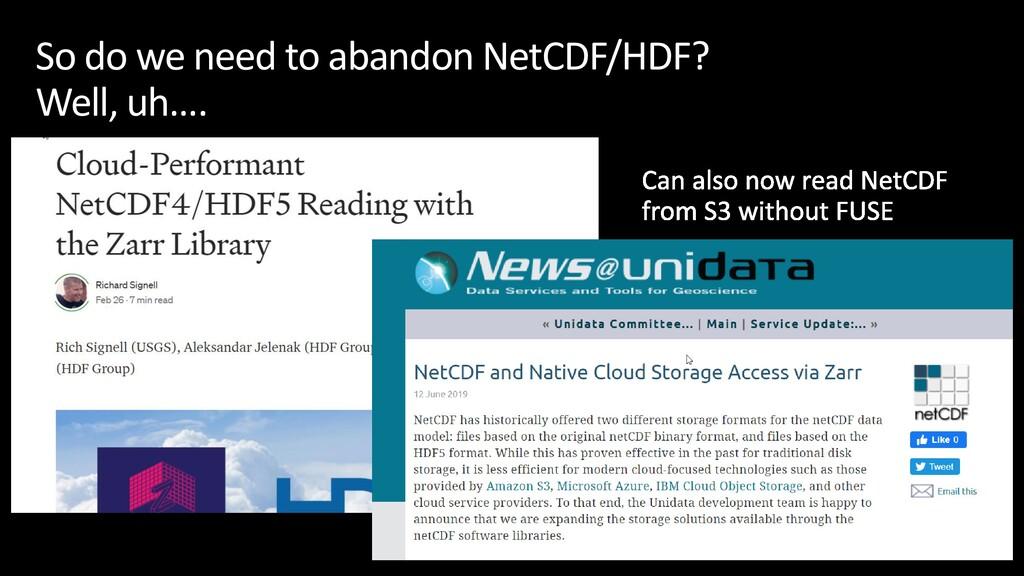So do we need to abandon NetCDF/HDF? Well, uh….