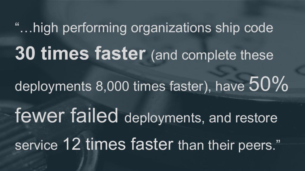 """…high performing organizations ship code 30 ti..."