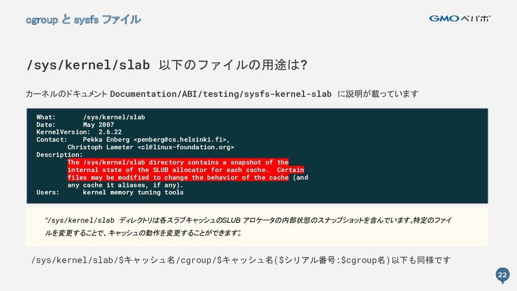22 カーネルのドキュメント Documentation/ABI/testing/sysfs-...