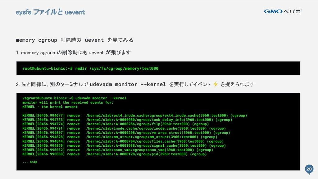 28 28 sysfs ファイルと uevent memory cgroup 削除時の ue...