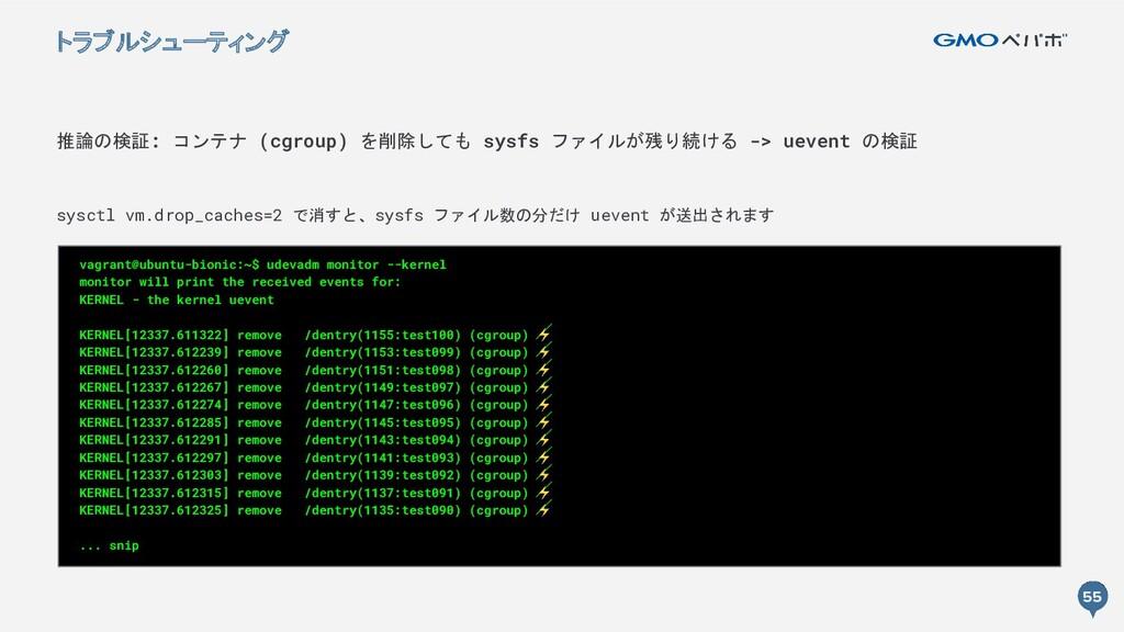 55 55 推論の検証: コンテナ (cgroup) を削除しても sysfs ファイルが残り...