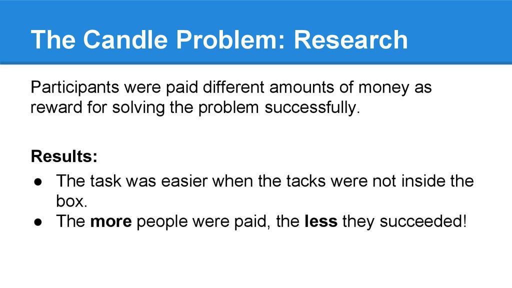 The Candle Problem: Research Participants were ...