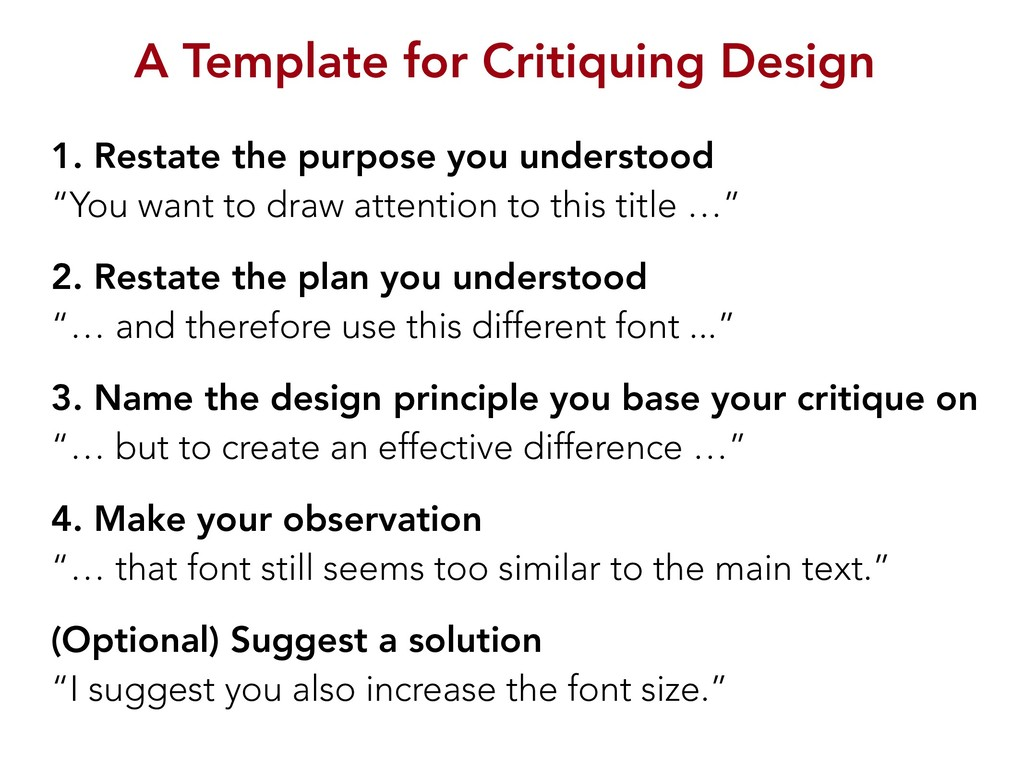 A Template for Critiquing Design 1. Restate the...
