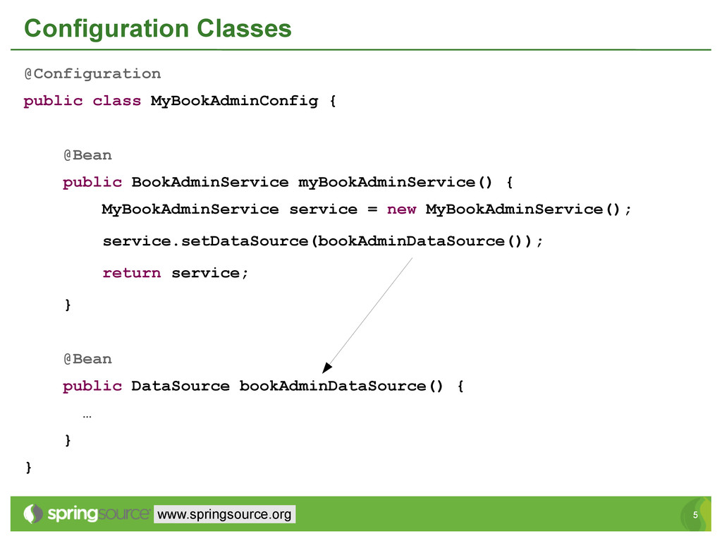 5 5 www.springsource.org Configuration Classes ...