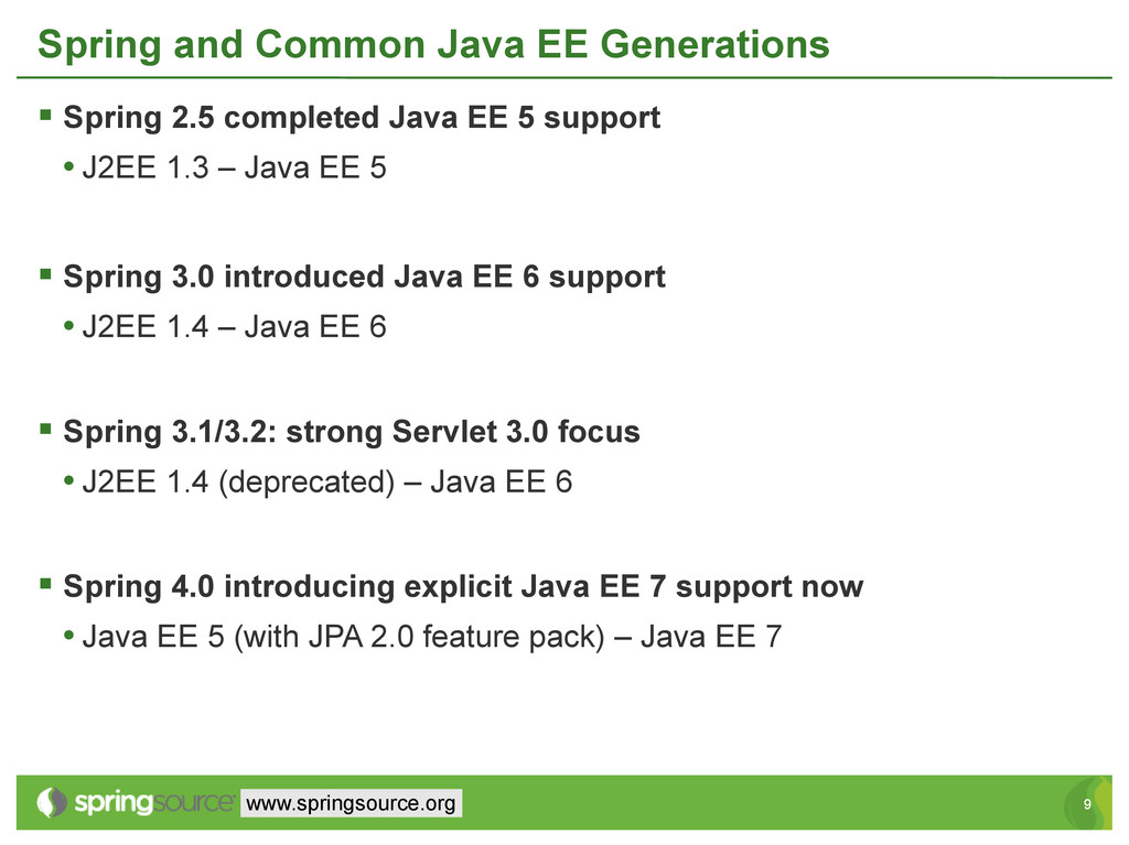 9 9 www.springsource.org Spring and Common Java...
