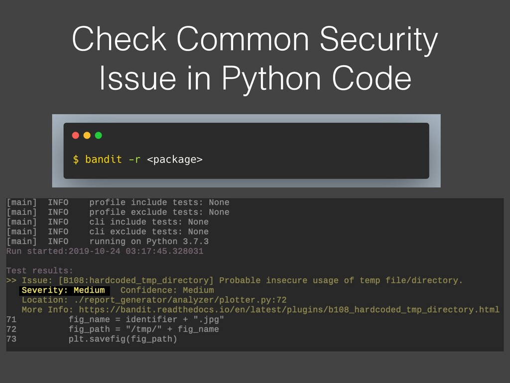 Check Common Security Issue in Python Code