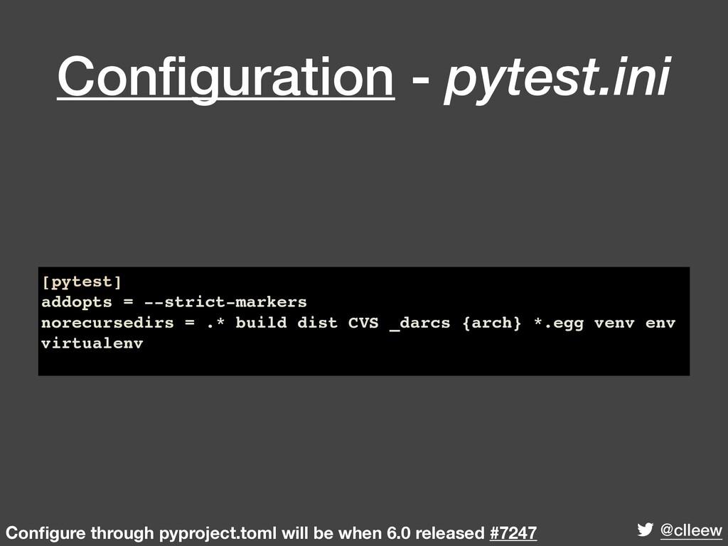 @clleew Configuration - pytest.ini [pytest] addo...