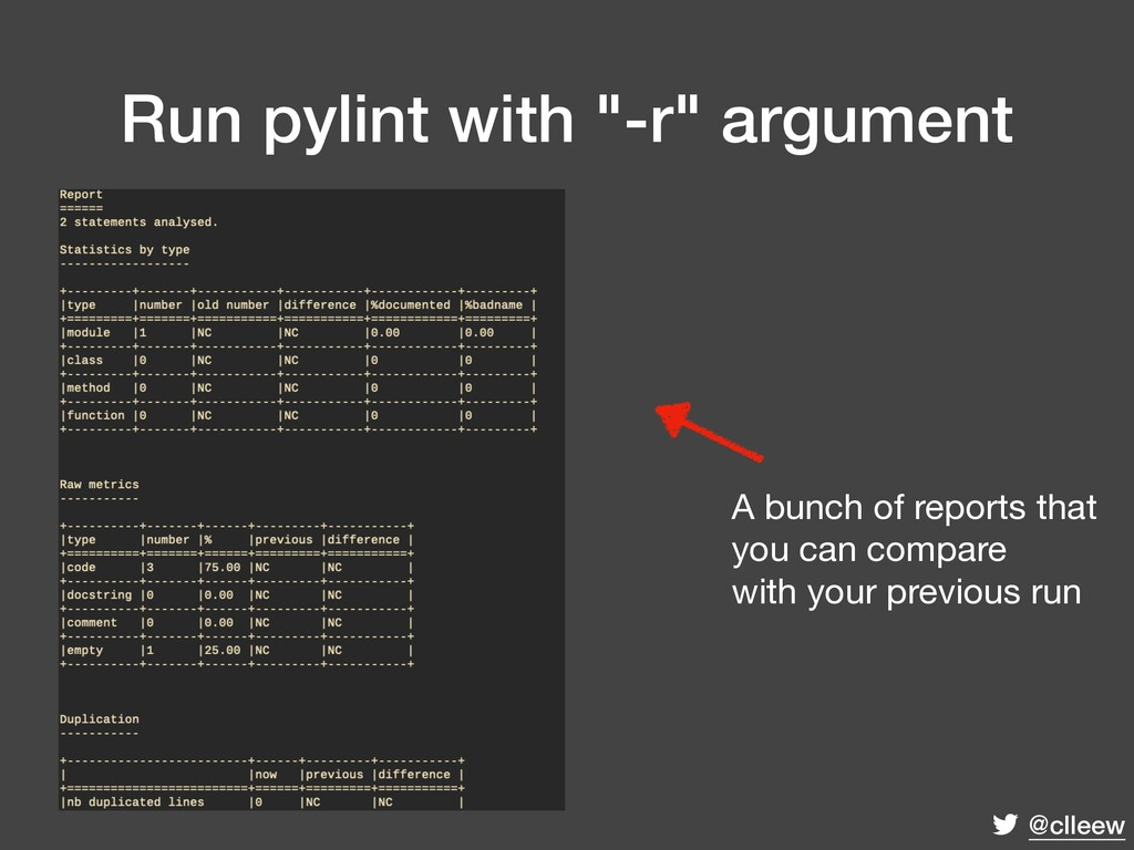 "@clleew Run pylint with ""-r"" argument A bunch o..."