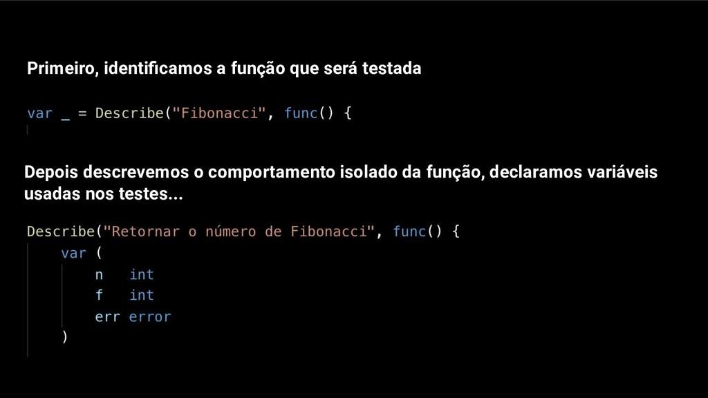 Primeiro, identificamos a função que será testad...