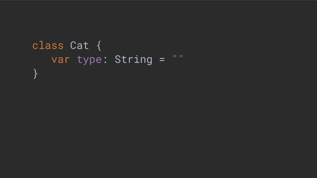 "class Cat { var type: String = """" }"