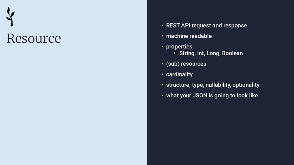 Resource • REST API request and response • mach...