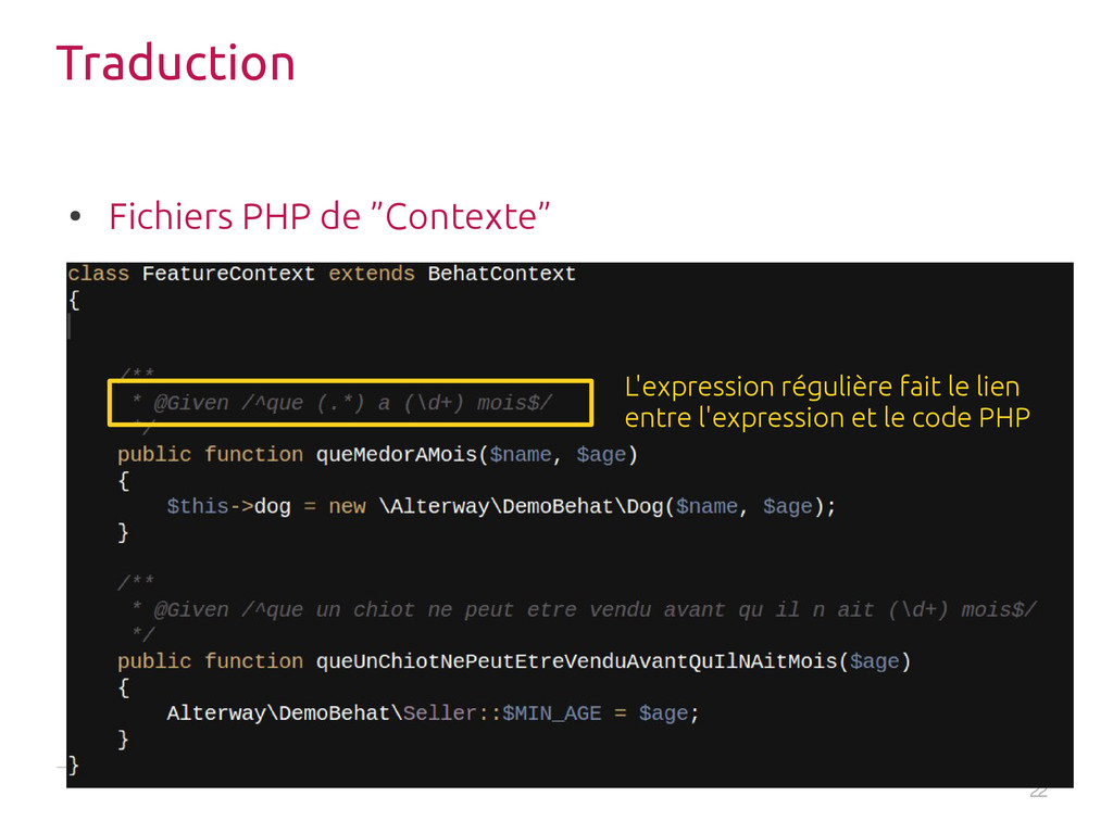 """22 Traduction ● Fichiers PHP de """"Contexte"""" L'ex..."""