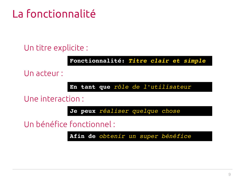 9 La fonctionnalité Un titre explicite : Un act...