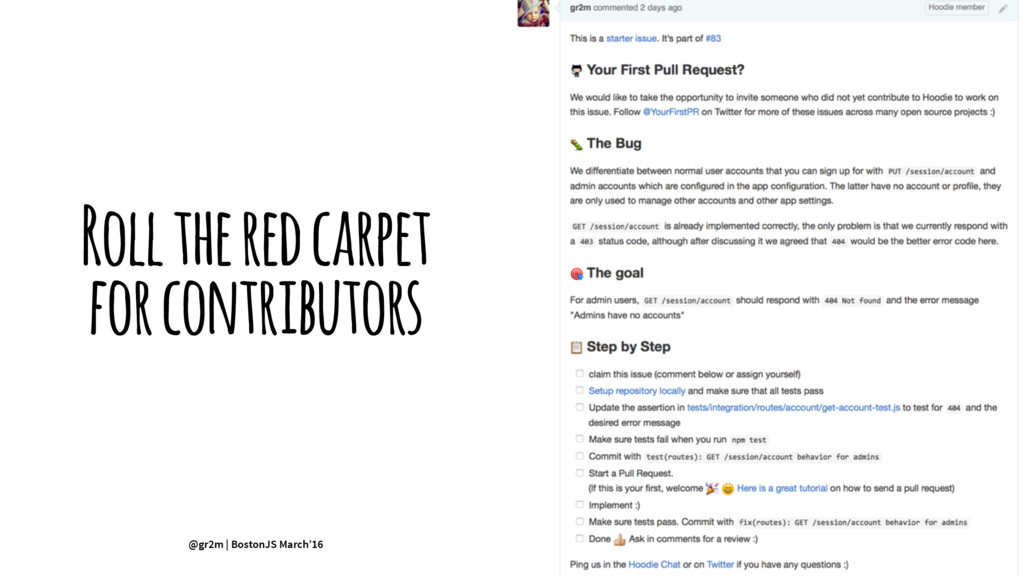 Roll the red carpet for contributors @gr2m | Bo...