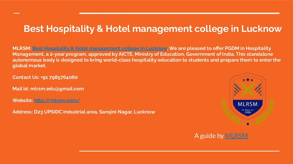 Best Hospitality & Hotel management college in ...