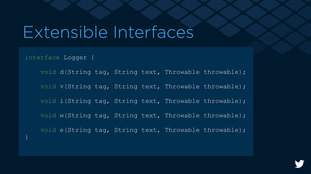 Extensible Interfaces interface Logger { void d...