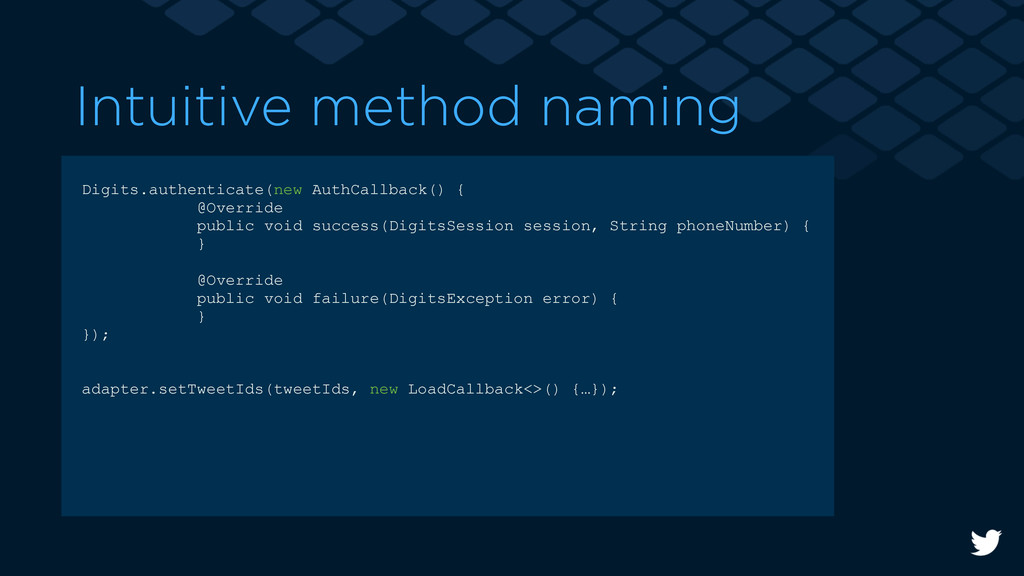 Intuitive method naming Digits.authenticate(new...