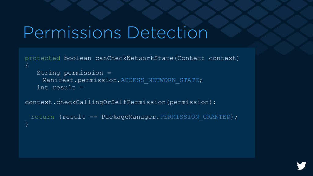 Permissions Detection protected boolean canChec...