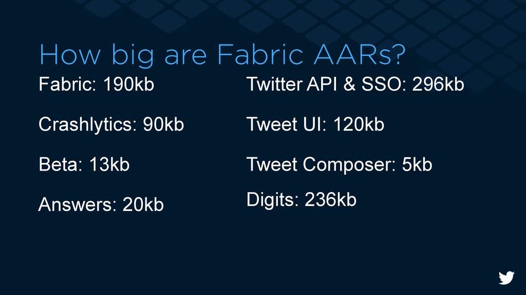 How big are Fabric AARs? Fabric: 190kb Crashlyt...