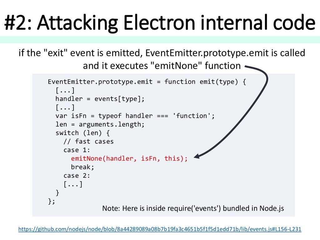 #2: Attacking Electron internal code EventEmitt...